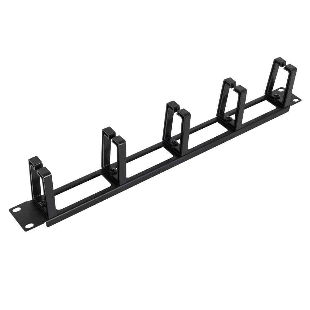 1U Horizontal Cable Manager, Plastic D-rings