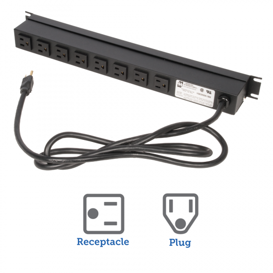 15A Power Strip, 8 Outlets, 6ft Cord