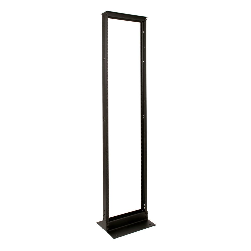 "45U Telco 2 Post Rack Black Finish 12-24 Threads 23"" Wide"